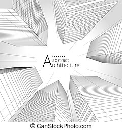 arquitectura, moderno, urbano, diseño de edificio, fondo., resumen