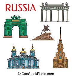 arquitectura, petersburg, señales, santo, ruso