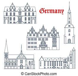 arquitectura, señales, alemán, iconos, ciudad, alemania