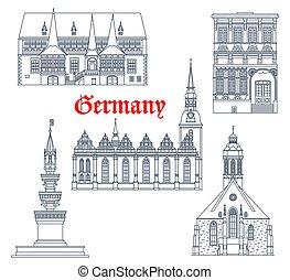 arquitectura, señales, alemania, viaje, edificios