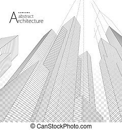 arquitectura, urbano, resumen, edificio, moderno, fondo., diseño