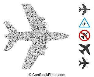 arranque, icono, avión, mosaico