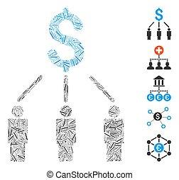 arranque, icono, mosaico, crowdfunding