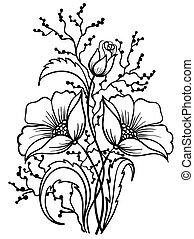 Arreglo de flores en blanco y negro. Dibujo de líneas