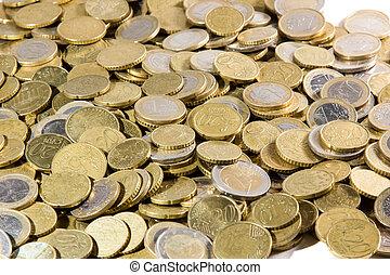 arriba, euros, montón, cierre, coins