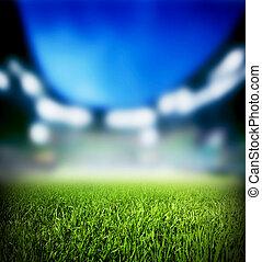 arriba, fútbol americano del fútbol, luces, stadium., match., cierre, pasto o césped