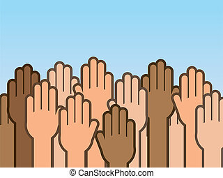 arriba, manos, muchos