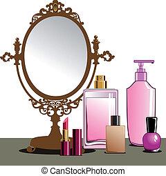 arriba, marca, espejo