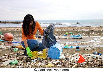 arriba, plástico, medio, pico, tratar, contaminación