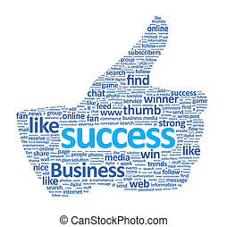 arriba, señal, pulgar, éxito