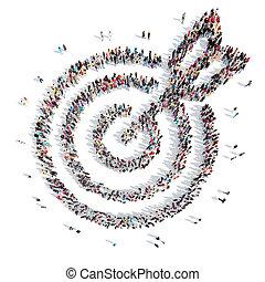 arrow., forma, blanco, gente