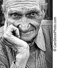 arrugado, hombre mayor, viejo, cara