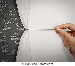 arrugado, mundo del espectáculo, papel, estrategia, mano abierta, tirón