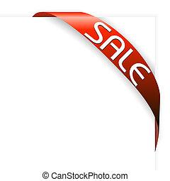 artículos, cinta, venta, rojo, esquina