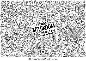 artículos, símbolos, conjunto, objetos, caricatura, tema, cuarto de baño