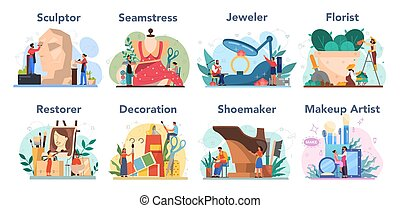 artístico, componer, ocupación, restaurador, escultor, set., florista
