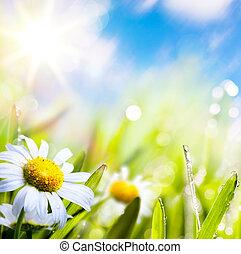 Arte abstracto flor de verano en la hierba con gotas de agua en el cielo del sol