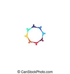 arte, aislado, blanco, ilustraciones, logotipo, juntos, colorido, gente, símbolo, señal