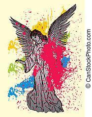 arte, alas, vector, estatua, aves, maria