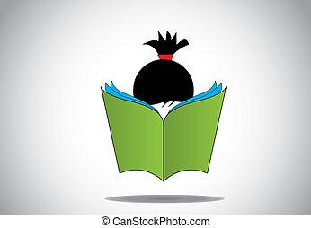 arte, aprendizaje, niña, fun., abierto, educar, educación, haired, concept., joven, estudiar, libro, negro, lectura, elegante, 3d, grande, ilustración, niño, niño, verde, exámenes, aprender, o