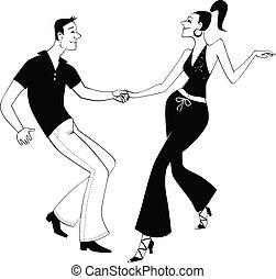 arte, clip, oeste, bailarines, costa, columpio