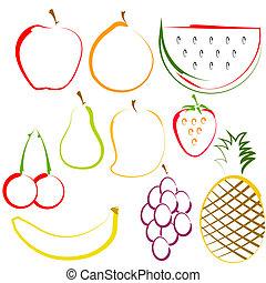 arte de línea, fruits