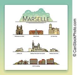 Arte de la línea Vectora Marsella, Francia, puntos de viaje y icono de arquitectura. Los destinos turísticos más populares, calles, catedrales, edificios, símbolos de la ciudad