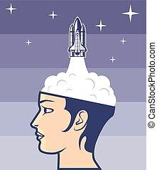 Arte de viajes espaciales cerebrales