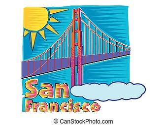 Arte del puente Golden Gate en San Francisco Clipart