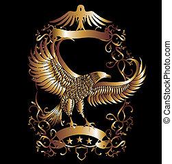 Arte del vector de escudos de oro