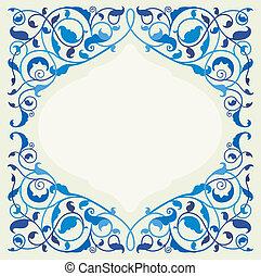 Arte floral islámico en monocromático