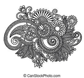 arte, florido, diseño, flor, línea