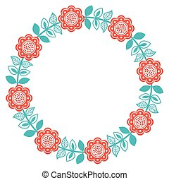 Arte folclórico escandinavo alrededor de un patrón floral finlandés, nórdico, estilo