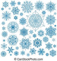 arte gráfico, copos de nieve, hojuela de nieve, vector, icons., colección, navidad