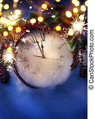 arte, medianoche, eva, años, nuevo, navidad