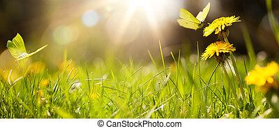 arte, pasto o césped, plano de fondo, primavera, verano, fresco, o, resumen
