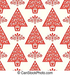 arte, pattern-, estilo, árbol, escandinavo, diseño, flores, gente, copos de nieve, vector, seamless, aves, navidad