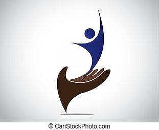 arte, protector, hembra, dirección, silueta, concept., joven, seguridad, expresar, mujer feliz, exitoso, alegría, ilustración, mano, manos, ambos, macho, talento, arriba, persona, mand, proporcionar, o