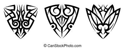 arte, resumen, conjunto, tribal, tatuaje