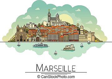 Arte Vector: Marsella, Francia, monumentos de viajes y icono de arquitectura. Los destinos turísticos más populares, calles de la ciudad, catedrales, edificios, símbolos en una ilustración