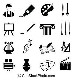 artes, conjunto, icono