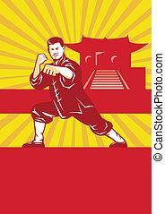 artes, fu, marcial, maestro, kung, shaolin, retro