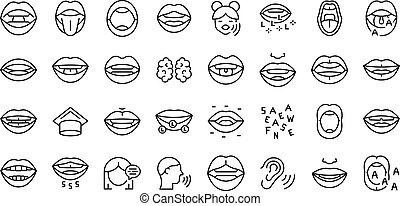 articulación, contorno, niñez, desarrollo, vector., conjunto, iconos
