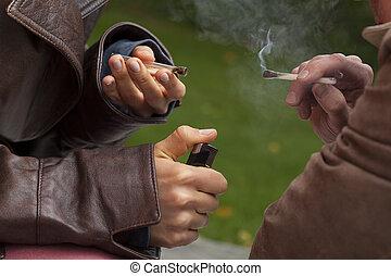 articulaciones, humo, abrasador