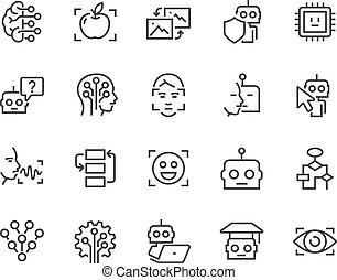 artificial, línea, inteligencia, iconos