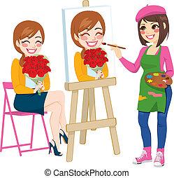 Artista pintando retratos