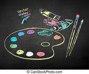 artistas, suministros, dibujado, conjunto, ilustración, tiza