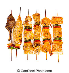 asó a la parrilla carne, sabroso, kebab shish