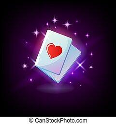 As de corazones, tarjeta de traje rojo, as, icono ranura para casino en línea o logo para la combinación ganadora del juego móvil, mano de póker en fondo morado oscuro, ilustración vectorial.