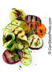 asado parrilla, vegetal, blanco, aislado